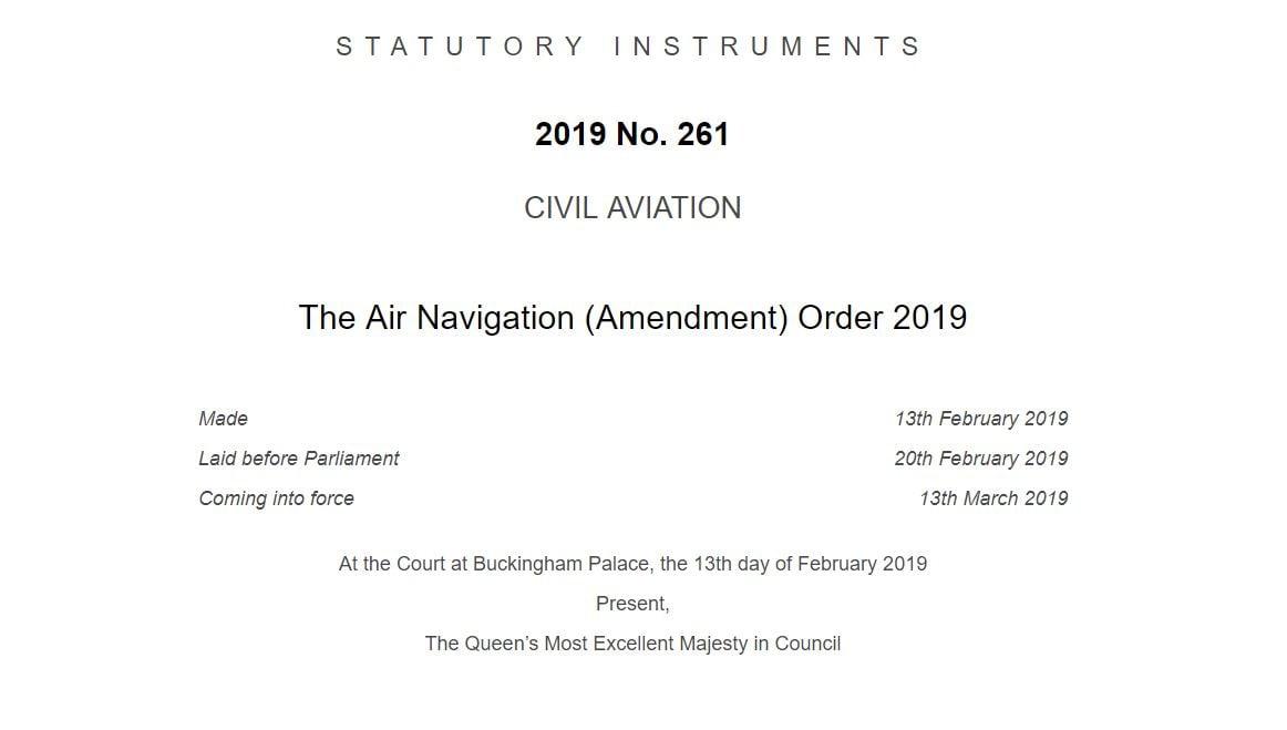 The Air Navigation (Amendment) Order 2019